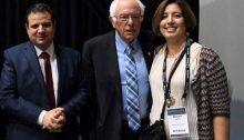MK Ayman Odeh, Senator Bernie Sanders and Hadash feminist activist Maisam Jaljuli, during the last J Street conference held in Washington, October 29, 2019