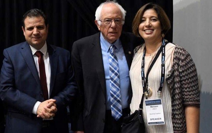 MK Ayman Odeh, Senator Bernie Sanders and Hadash feminist activist Maisam Jaljuli, during the last J Street conference held in Washington, October 29, 2019