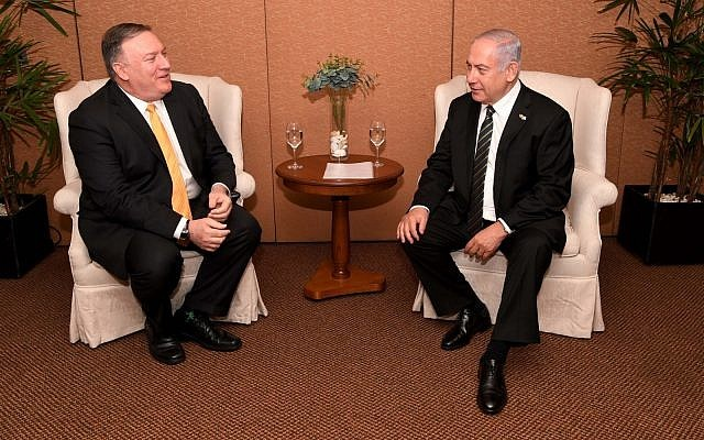 US Secretary of State Mike Pompeo meets with Prime Minister Benjamin Netanyahu in Brasilia on January 1, 2019.