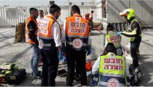 Paramedics unsuccessfully attempt to save the life of Samir Karamawi, 23, who was critically injured in after he fell from a height of several meters at a construction site at the Big Center in Yehud, November 7, 2019. Karamawi was the 42nd construction worker to die in a workplace accident during 2019.