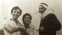 Lea Tsemel with her husband, well known leftist activist Michael Warschawski (Mikado), and the father of a Palestinian prisoner in an Israeli military court in Hebron, in the occupied West Bank in 1973