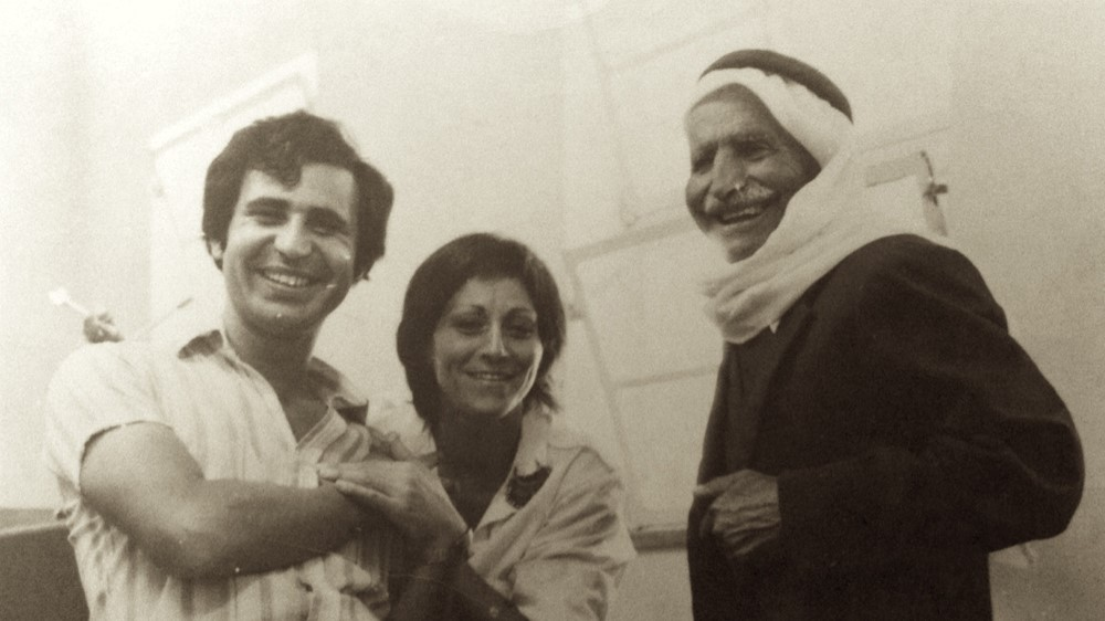 Lea Tsemel with her husband, well known leftist activist Michael Warschawski (Mikado), and the father of a Palestinian prisoner in an Israeli military court in Hebron in the occupied West Bank, 1973