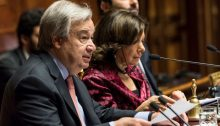UN Secretary-General António Guterres addresses a special session of the Italian parliament on Wednesday, December 16.