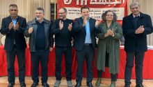 The first six candidates from Hadash for the March 2 election; from left to right: Youssef Atawne, Youssef Jabareen, Ofer Cassif, Ayman Odeh, Aida Touma-Sliman and Jaber Asakla
