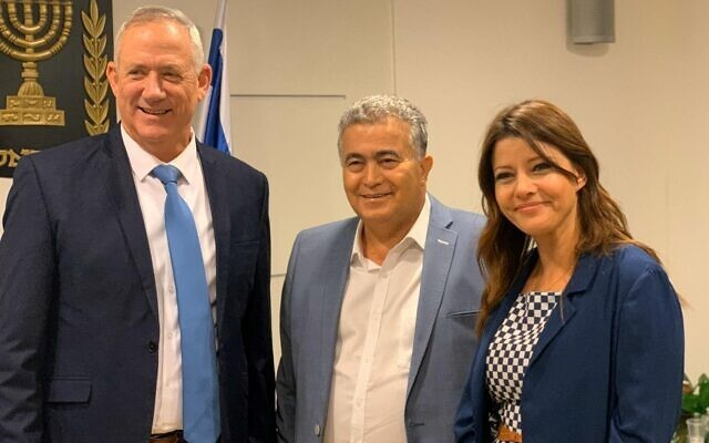 Blue & White leader MK Benny Gantz, Labor chief MK Amir Peretz and Gesher head MK Orly Levy-Abekasis in a meeting between them held on November 14, 2019