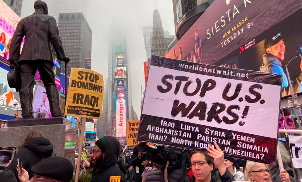 Demonstration in Times Square in New York City against US intervention in Iran following the US targeted assassination of General Qassem Soleimani