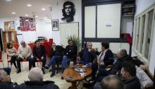 MK Ayman Odeh (third from left) during a meeting of Hadash's local leadership in Nazareth, last Thursday, January 16
