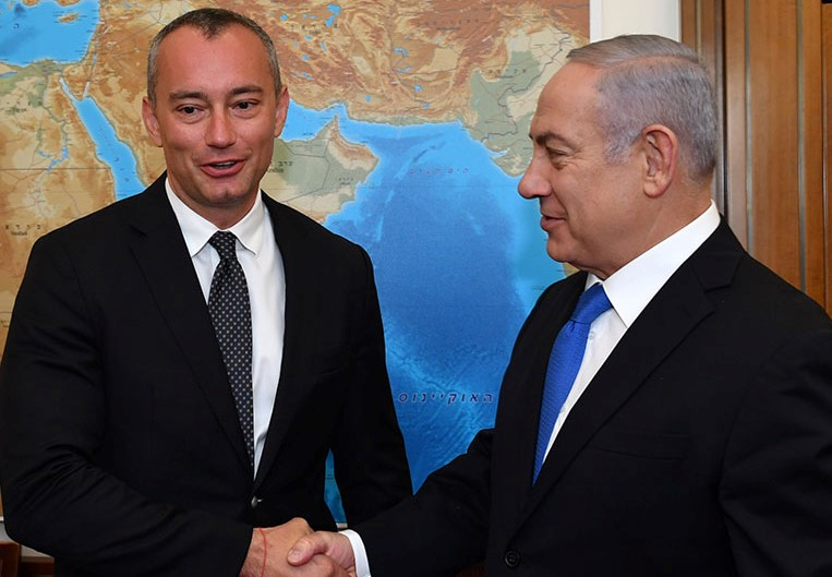UN Special Coordinator for the Middle East Peace Process Nickolay Mladenov meets with Israel's prime minister, Benjamin Netanyahu, June 2018