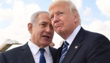 Prime Minister Benjamin Netanyahu and US President Donald Trump confer at Ben Gurion International Airport prior to the latter's departure from Israel on May 23, 2017.