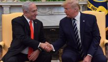 Israel's Prime Minister Benjamin Netanyahu with US President Donald Trump, Tuesday, January 28, at the White House in Washington DC; once again, the tail wagging the dog.""