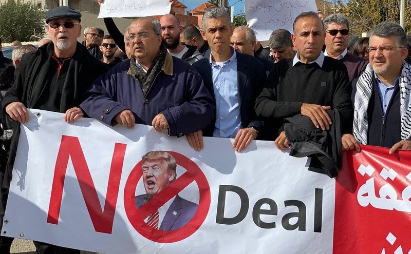 "Prominent members of the Joint List lead a protest march against Trump's ""Deal of the Century"" in Baqa al-Gharbiyye, Saturday, February 1: From right to left, Hadash MK Youssef Jabarrin; (in second row) Secretary General of the Communist Party of Israel, Adel Amer; Secretary General of Hadash, Mansour Dehamshe; first from left, Issam Makhoul, former MK from Hadash and current Chairman of the Emil Touma Institute for Palestinian & Israeli Studies; second from left, MK Ahmad Tibi (Ta'al)."