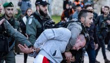 """Israeli police forces suppress a protestor demonstrating against the Trump administration's plan, Jerusalem, January 29, 2020. Clashes have been taking place in the West Bank since the US announced its so-called """"Deal of the Century"""" on January 28."""