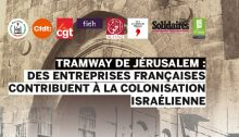 The cover of a report prepared by French and Palestinian unions and human rights organizations disclosing the French companies, particularly Alstom, that built and are continuing to expand the Jerusalem light railroad which encroaches on parts of occupied East Jerusalem. The title reads: Jerusalem Light Rail: The French Businesses Contributing to Israel's Colonization.