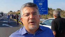MK Youssef Jabareen during a protest on Highway 6 against the Israel police's ongoing neglect of crime in the Arab community, October 10, 2019 (Photo: Zu Haderech)