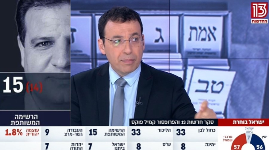 Photograph of Ayman Odeh displayed during a televised election results forecast immediately following the closing of the polls at 10:00 pm on Monday night, March 2