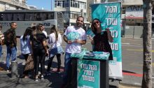 Joint List activists, on Election Day last Monday, March 2, near Shuk HaCarmel in Central Tel Aviv
