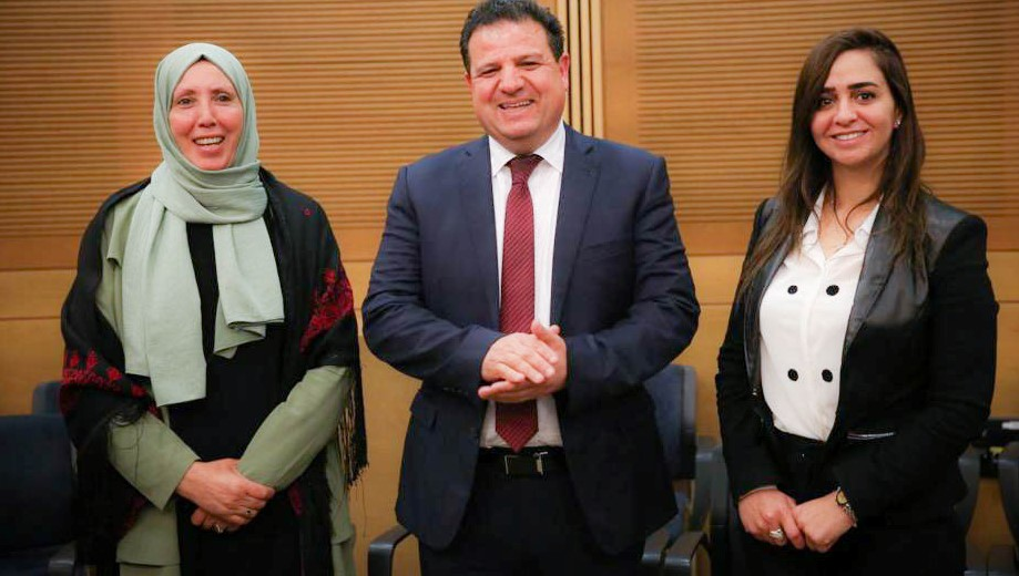 MK Ayman Odeh with two new Joint List MKs: Iman Al-Khatib (left) and Sundus Saleh