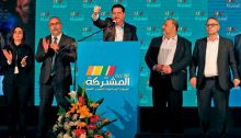 MK Ayman Odeh (at the podium) during an electoral rally in Shefa-'Amr (Shfar'am)