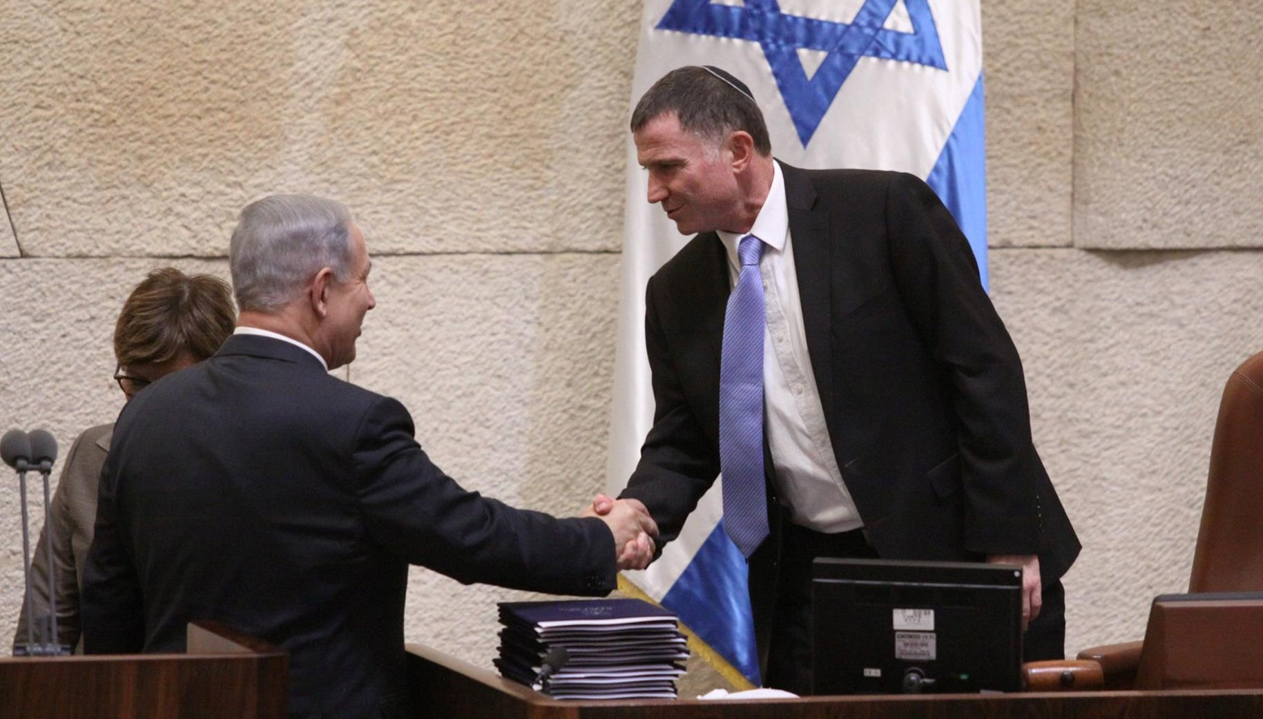Prime Minister Benjamin Netanyahu and Speaker of the Knesset Yuli Edelstein in the parliamentary plenum
