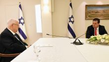 President Reuven Rivlin during his meeting with MK Ayman Odeh and other representatives of the Joint List on Sunday, March 15, 2020