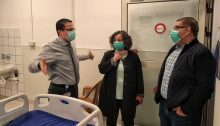 MK Aida Touma-Sliman (center) during a visit, last Sunday, March 29, at the English Hospital in Nazareth