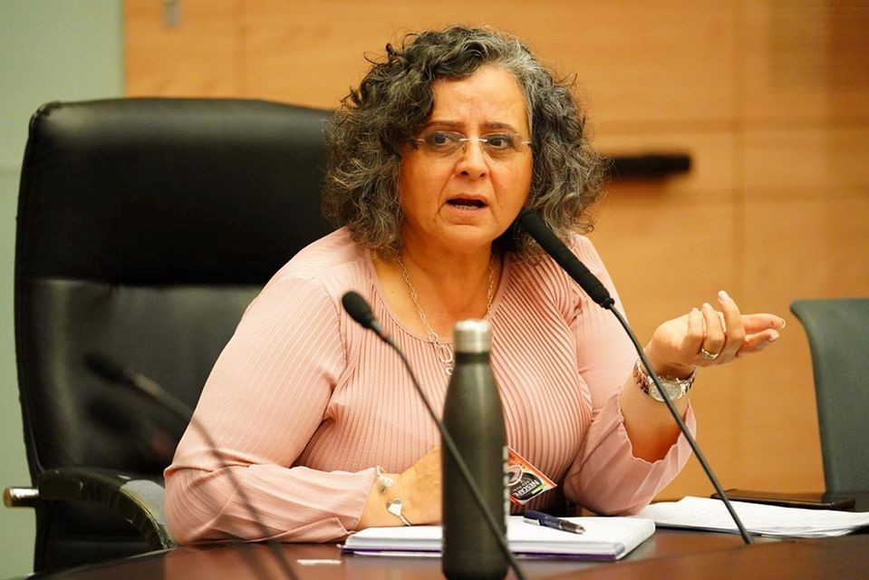The head of the Knesset's Labor, Health and Welfare Committee, MK Aida Touma-Sliman, during the meeting held on Tuesday, March 31
