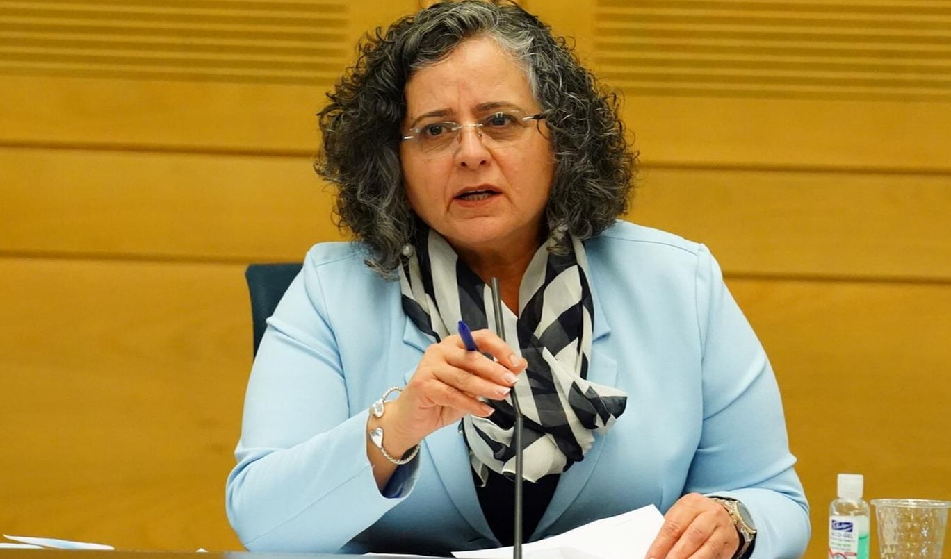Hadash MK Aida Touma-Sliman (Joint List), chair of the Welfare and Labor Affairs Committee, during the meeting held last Monday, April 20, on health workers' rights