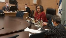 MK Aida Touma-Sliman (Hadash - Joint List) chairing the session of the Knesset's Special Committee for Welfare and Labor Chair on Sunday, May 3