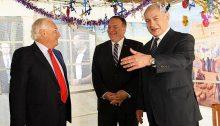 US Secretary of State Mike Pompeo (center) during talks with Prime Minister Benjamin Netanyahu on October 18, 2019. At left is US Ambassador to Israel, David Friedman.