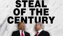 "The cover photo from the latest edition of the Palestine-Israel Journal devoted to Trump's ""Steal of the Century."" This is a twist on what the US president initially dubbed the ""Deal of the Century,"" a plan which was actually masterminded by Israel's Prime Minister Benjamin Netanyahu and was suggested by him to the American administration more than three years ago, but which the imperial masters wholeheartedly adopted, and have presented to the world, as their own. (Photo: PIJ)"