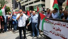 "Palestinians protest in Nablus against Israel's plans to annex parts of the occupied West Ban, May 14, 2020. The large banner reads, in part ""… Jerusalem is ours and the land is ours; [We are ] staying here; the [US-Israeli] 'Deal of the Century' will not pass."""