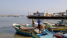 Palestinian fishermen in the port of Gaza