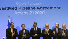 Israel's Prime Minister Benjamin Netanyahu (third from right), Greek Prime Minister Kyriakos Mitsotakis (third from left) and Cypriot President Nicos Anastasiades (second from left), met on January 2, 2020 in Athens, for the signing of the agreement for the EastMed gas pipeline that will run from Israel through Cyprus and Greece to Europe. Actually signing the agreement were Israel's Energy Minister Yuval Steinitz (first on right), Greek Environment and Energy Minister Konstantinos Hatzidakis (second from right) and Cypriot Energy, Commerce, Industry and Tourism Minister Georgios Lakkotrypis (first from left).