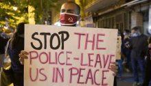 "Demonstrators in West Jerusalem protest against police brutality, Saturday evening, May 30: ""Palestinian Lives Matter"""
