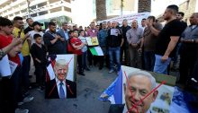 "Palestinians protest the US-Israeli ""Deal of the Century"" in the city of Nablus in the northern West Bank, May 30, 2020."