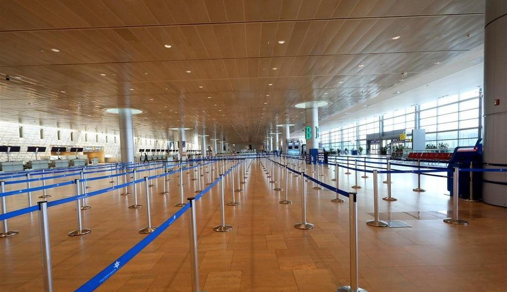 The departures terminal at Ben-Gurion Airport, earlier this month