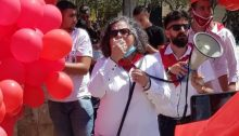 MK Aida Touma-Sliman addresses participants at the last May Day rally held in Nazareth during the COVID-19 pandemic.