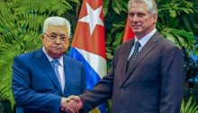Palestinian President Mahmoud Abbas and his Cuban counterpart Miguel Díaz-Canel during their meeting in Havanna, May 2018