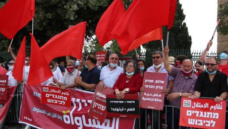 """Members of Hadash and the Communist Party of Israel demonstrate against the annexation and occupation of the Palestinian territories outside the Knesset, May 14, 2020. First from right is MK Ofer Cassif, whose Hadash sign reads """"Opposing the Occupation."""""""