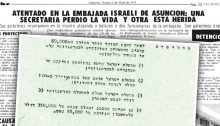 "On the background of a Paraguan news article from May 5, 1970 with the headline ""Attack at the Israeli embassy in Asuncion: Secretary loses her life and another is injured,"" the Hebrew minutes from the 1969 cabinet meeting asked to approve the Mossad's proposal to sponsor the emigration of 60,000 ""Arabs from the occupied territories."" The four clauses of the agreement are detailed below."