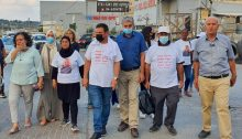 On the second day of its six-day campaign, the Mothers for Life Movement marched on Wednesday, August 12, in the city of Baqa al-Gharbiya. Among the marchers: Hadash MKs Aida Touma-Sliman (first from left), Ayman Odeh (middle, with black mask) and Jaber Asaqla (third from right in blue shirt).