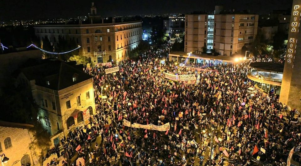 Thousands demonstrated in Paris Square in Jerusalem adjacent to the official residence of far-right Prime Minister Benjamin Netanyahu, and called for his resignation, Saturday night, October 18, 2020.