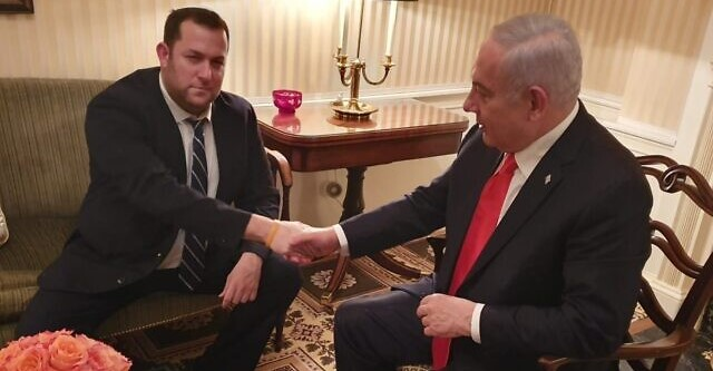 Yossi Dagan (left) meets with Prime Minister Benjamin Netanyahu in the Blair House in Washington DC, January 27, 2020.
