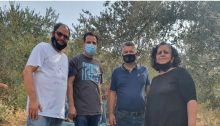 From left to right, Hadash MKs Ofer Cassif, Ayman Odeh, Yousef Jabareen and Aida Touma-Sliman took part in the olive harvest held last Friday, October 30, in the Palestinian village of Burin in the occupied West Bank.