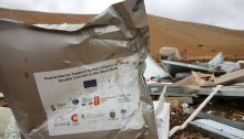 """Humanitarian Support to Palestinians at risk of forcible transfer in the West Bank""; Khirbet Humsa after the Tuesday, November 3, demolition."