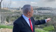 Netanyahu tours in occupied East Jerusalem in February 2020, when he lifted restrictions on the construction of the Givat Hamatos settlement.