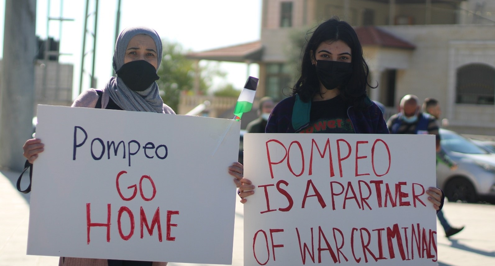 Palestinians protested in Al-Bireh on Wednesday, November 18, against US Secretary of State Mike Pompeo's imminent visit to the illegal Psagot settlement and winery. Residents of Al-Bireh have seen their land taken over by Psagot and other Israeli outposts in the area, including acreage belonging to a number of landowners who hold US citizenship. Pompeo is the first high-ranking US official to have visited an Israeli settlement in the heart of the West Bank.