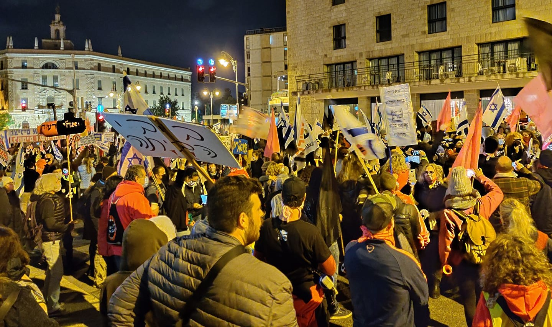 Demonstrators near the Prime Minister's official residence in Jerusalem, Saturday, November 21, 2020