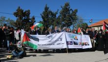 Palestinians protest in Al-Bireh on Wednesday, November 18, against US Secretary of State Mike Pompeo's visit to Psagot settlement and winery. The residents of Al-Bireh have seen their land taken over by Psagot and other Israeli outposts in the area, including some landowners who hold US citizenship. Pompeo is the first high-ranking US official to have visited an Israeli settlement in the heart of the West Bank.