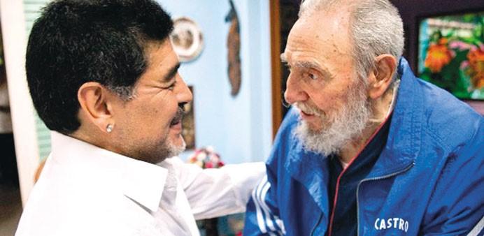 Argentina's soccer superstar Diego Armando Maradona in Cuba where he met Fidel Castro, the historical leader of the Cuban Revolution, December 2, 2016